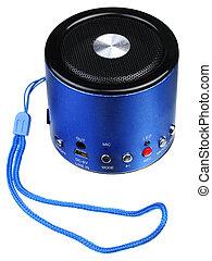 azul, mini, orador, portátil