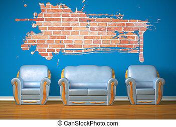 azul, minimalista, cadeiras, dois, sofá, interior