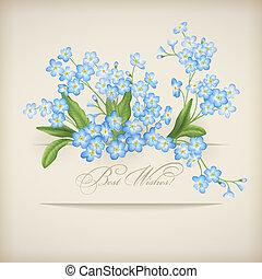 azul, miosótis, primavera, saudação, flores, cartão