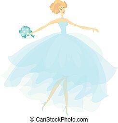 azul, moda, elegante, cor, dress., ilustração, noiva, vetorial, véu, transparente