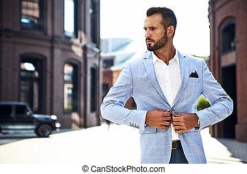 azul, moda, fondo., vestido, traje, elegante, calle, posar, metrosexual, sexy, retrato, hombre de negocios, modelo, guapo
