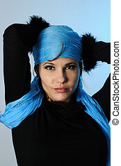 azul, moda, retrato