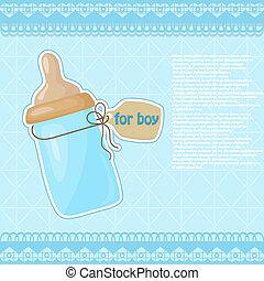 azul, modelado, niño, vendimia, botella, leche