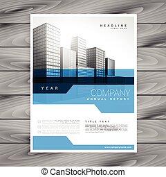 azul, modelo, cartaz, relatório anual, vetorial, desenho, voador, folheto