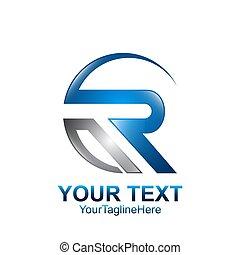 azul, modelo, negócio, companhia, inicial, cinzento, r, desenho, letra, swoosh, logotipo, identidade, colorido