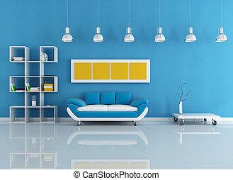 azul, moderno, interior