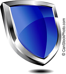 azul, modernos, escudo