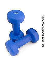 azul, mojado, caucho, 3, kg, dumbbell