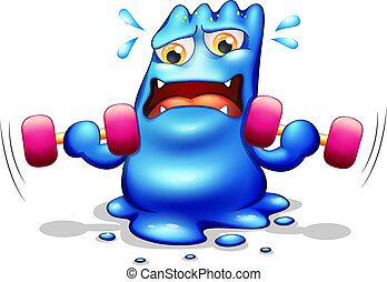 azul, monstro, exercitar