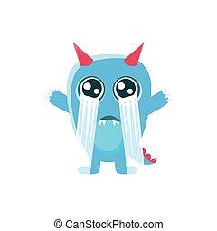 azul, monstro,  spiky, rabo, chorando, chifres, Alto, saída