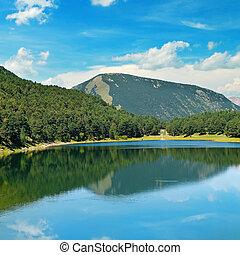 azul, montañas, lago, cielo