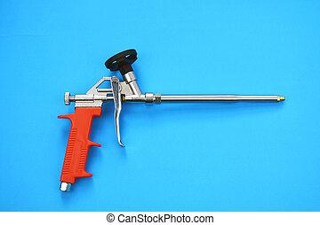 azul, montagem, ferramenta, espuma, arma, pulverizador, fundo, pistola