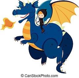 azul, montando, caçador, dragão