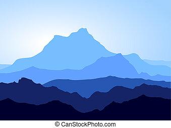 azul, montanhas