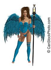 azul, morena, anjo, winged, cabelo, bebê