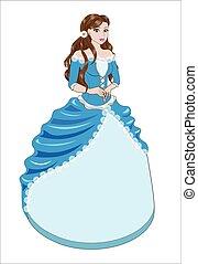 azul, morena, vestido, princesa