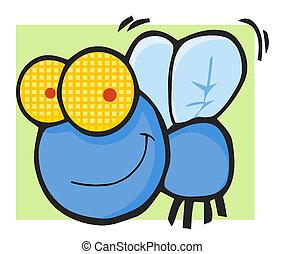 azul, mosca, feliz