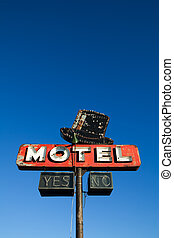 azul, motel, cielo, contra, señal