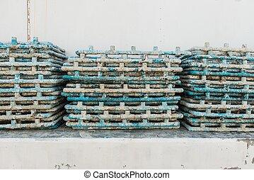 azul, muito, junto, cano, pvc, sujo, pilha