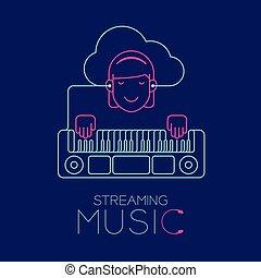 azul, mujer, concepto, audífono, eléctrico, hecho, espacio, aislado, ilustración, oscuridad, correr, forma, cable, diseño, conectar, teclado, música, copia, smartphone, nube, plano de fondo