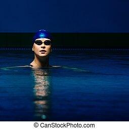 azul, mujer, gorra, joven, traje, piscina, natación