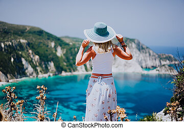azul, mujer, petani, pintoresco, laguna, panorama,...