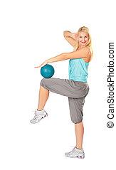 azul, mujer, practica, pelota