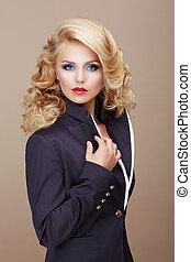azul, mujer, serio, charisma., traje, rubio