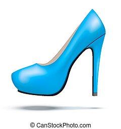 azul, mujer, shoes, moderno, brillante, alto, bomba, talones
