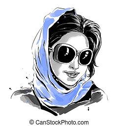azul, mulher, óculos de sol, ilustração, aquarela, moda, echarpe