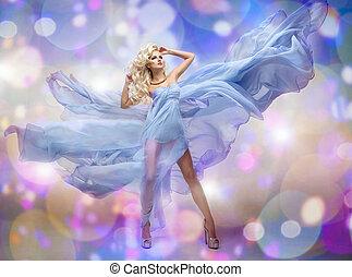 azul, mulher, beleza, loura, excitado, vestido