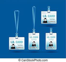 azul, mulher, cartão id