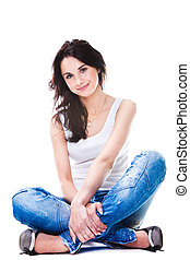 azul, mulher, chão, sentando, calças brim, bonito, branca