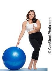azul, mulher, excesso de peso, bola, condicão física