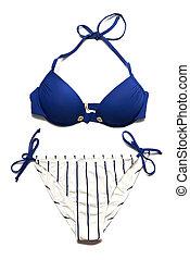 azul, mulher, isolado, paleto, branca, natação