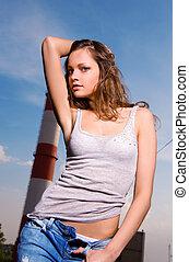 azul, mulher jovem, calças brim, excitado