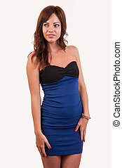 azul, mulher, jovem, elegante, posar, trendy, retrato, vestido