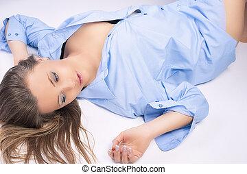 azul, mulher, jovem, loura, retrato, agradável, sensual, roupas