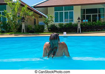 azul, mulher, piscina exterior, natação
