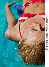 azul, mulher relaxando, ao ar livre, waterpool, natação