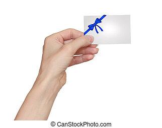 azul, mulher segura, isolado, mão, cartão, fundo, branca, arco, fita
