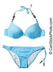 azul, mulher, terno natação, isolado, branco