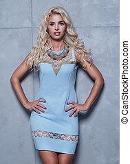 azul, mulher, vestido, atraente