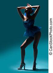 azul, mulher, vestido