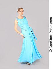 azul, mulher, vestido, jovem