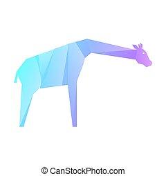 azul, multicolor, púrpura, jirafa, gradiente