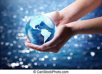 azul, mundo, en la mano, -, estados unidos de américa
