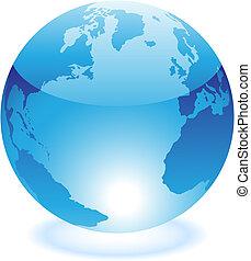 azul, mundo, lustroso