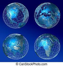 azul, mundo, todos, continente