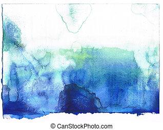 azul, myself., criado, pintado, abstratos, aquarela,...